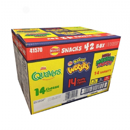 Walkers Snacks Box, 5 Varieties - Pack of 42, Wotsits, Quavers, Monster Munch